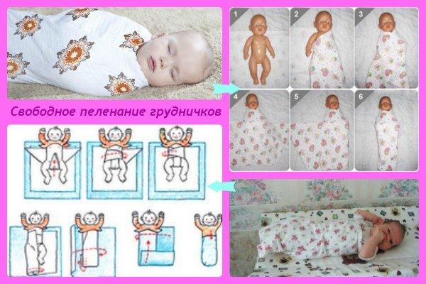 Пеленание новорожденных: свободное пеленание (фото)