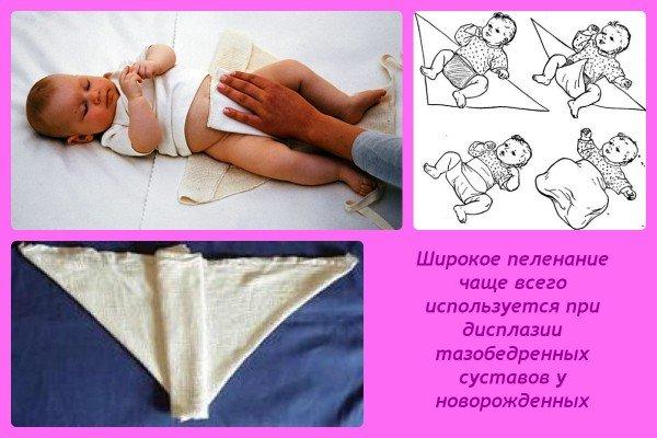 Пеленание новорожденных: широкое пеленание