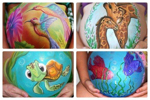 Боди-арт беременных: идеи для рисунков