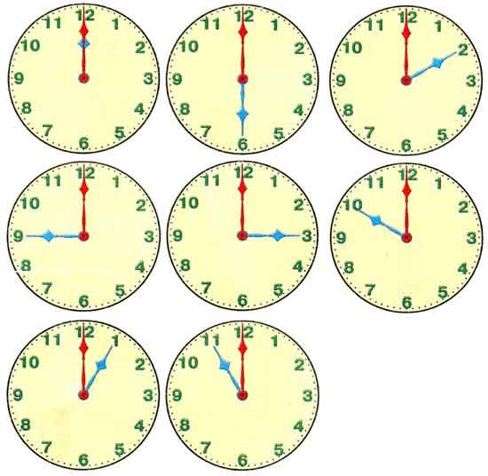 8 циферблатов с целыми значениями времени