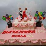 Торт с фигурками танцующих юноши и девушки