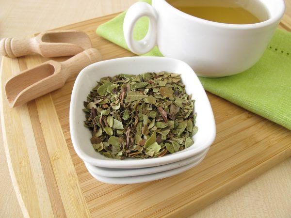 Сухая трава толокнянки в тарелке и чашка чая