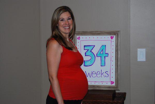 живот на 34 неделе