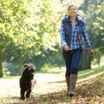 Женщина гуляет в парке с собакой