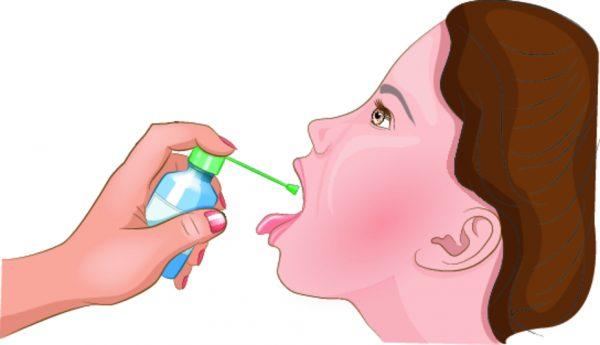 лечение горла спреем на схеме